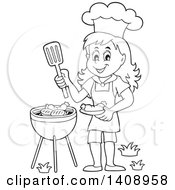 Clipart Of A Black And White Lineart Happy Girl Cooking On A Bbq Grill Royalty Free Vector Illustration by visekart