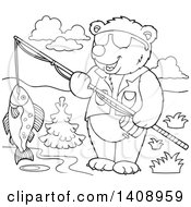 Clipart Of A Black And White Lineart Bear Fishing Royalty Free Vector Illustration by visekart