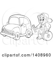 Black And White Lineart Mechanic Working On A Car