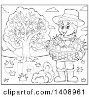 Black And White Lineart Farmer Holding A Basket By An Apple Tree