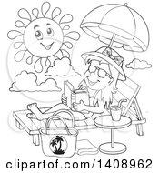 Clipart Of A Black And White Lineart Girl Reading And Sun Bathing Royalty Free Vector Illustration