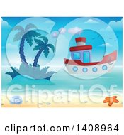 Clipart Of A Boat Near An Island And Shore Royalty Free Vector Illustration by visekart