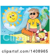 Cartoon Caucasian Male Lifeguard On A Sunny Beach