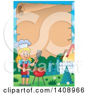 Clipart Of A Scroll Border With A Happy Caucasian Girl Cooking On A Bbq Grill Royalty Free Vector Illustration