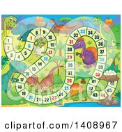 Clipart Of A Dinosaur Themed Board Game Design Royalty Free Vector Illustration