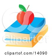 Red Apple On Top Of Text Books School Clipart Illustration