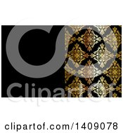 Clipart Of A Shiny Gold And Black Damask Floral Pattern Business Card Or Background Design Royalty Free Vector Illustration by KJ Pargeter