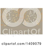 Clipart Of A Fancy Metallic Circles And Stars Over Taupe Business Card Or Background Design Royalty Free Vector Illustration by KJ Pargeter