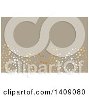Clipart Of A Fancy Metallic Circles And Stars Over Taupe Business Card Or Background Design Royalty Free Vector Illustration