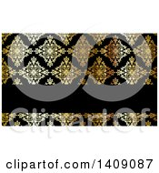 Shiny Gold And Black Damask Floral Pattern Business Card Or Background Design
