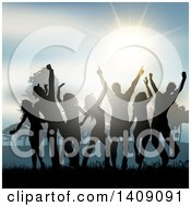 Group Of Silhouetted Dancers Having Fun Outside