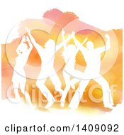 Clipart Of A White Silhouetted Dancers Jumping Over Orange Watercolor On White Royalty Free Vector Illustration
