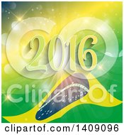 Clipart Of A Rio De Janeiro Brazil Flag And 2016 On A Yellow And Green Burst Royalty Free Vector Illustration by KJ Pargeter