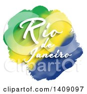 Clipart Of White Rio De Janeiro Text Over Watercolor Green Yellow And Blue Stripes On White Royalty Free Vector Illustration