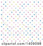 Clipart Of A Background Of Retro Pink Blue And Yellow Hearts Royalty Free Vector Illustration