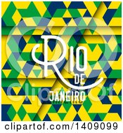 Clipart Of A Geometric Background With Rio De Janeiro Text Royalty Free Vector Illustration