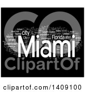 Clipart Of A White Miami Word Collage On Black Royalty Free Illustration