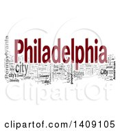 Philadelphia Word Collage On White