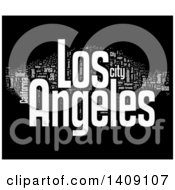 Clipart Of A White Los Angeles Word Collage On Black Royalty Free Illustration