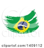 Clipart Of A Painted Brazilian Flag On White Royalty Free Illustration by MacX