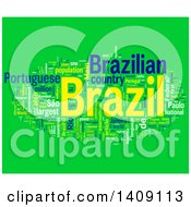 Clipart Of A Brazil Word Collage On Green Royalty Free Illustration by MacX