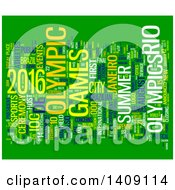 Clipart Of A Brazil Olympic Games Word Collage On Green Royalty Free Illustration by MacX
