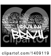 Clipart Of A White Brazil Word Collage On Black Royalty Free Illustration