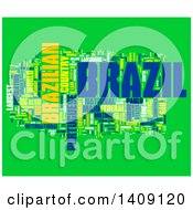 Clipart Of A Brazil Word Collage On Green Royalty Free Illustration