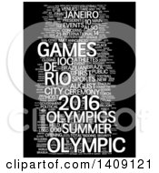 Clipart Of A White Brazil Olympic Games Word Collage On Black Royalty Free Illustration
