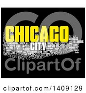 Clipart Of A Chicago Word Collage On Black Royalty Free Illustration