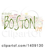 Boston Word Collage On White