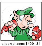 Clipart Of A Santas Helper Christmas Elf Answering A Telephone Royalty Free Vector Illustration by Johnny Sajem