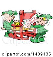 Clipart Of Santas Helper Christmas Elves Decorating And Cleaning A Workshop Chair Royalty Free Vector Illustration