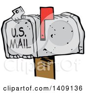 Clipart Of A Cartoon Mailbox With The Flag Up Youve Got Mail Royalty Free Vector Illustration by Johnny Sajem