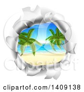 Clipart Of A Hole In A 3d Wall Revealing A Tropical Beach Royalty Free Vector Illustration