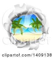Hole In A 3d Wall Revealing A Tropical Beach
