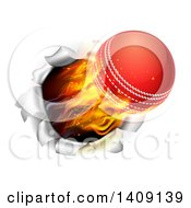 Clipart Of A 3d Flying And Blazing Cricket Ball Breaking Through A Wall Royalty Free Vector Illustration
