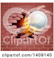 Clipart Of A 3d Flying And Blazing Golf Ball Breaking Through A Brick Wall Royalty Free Vector Illustration
