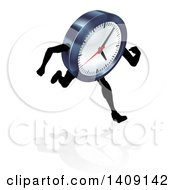 Clipart Of A 3d Running Clock Character Royalty Free Vector Illustration