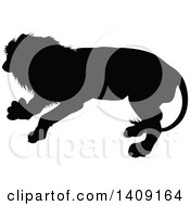 Clipart Of A Black Silhouetted Male Lion Royalty Free Vector Illustration