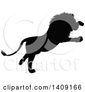 Black Silhouetted Male Lion Pouncing