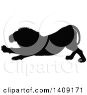 Clipart Of A Black Silhouetted Male Lion Stretching Royalty Free Vector Illustration