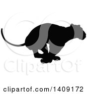 Clipart Of A Black Silhouetted Lioness Running Royalty Free Vector Illustration by AtStockIllustration