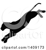 Clipart Of A Black Silhouetted Lioness Pouncing Royalty Free Vector Illustration