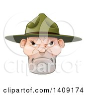 Clipart Of A Mad Caucasian Male Army Boot Camp Drill Sergeant Face Royalty Free Vector Illustration