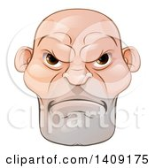Clipart Of A Mad And Mean Bald Caucasian Mans Face Royalty Free Vector Illustration