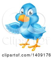 Clipart Of A Happy Blue Bird Presenting Or Pointing To The Left Royalty Free Vector Illustration by AtStockIllustration