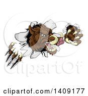 Clipart Of A Brown Boar Monster Slashing Through A Wall Royalty Free Vector Illustration by AtStockIllustration