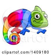 Cartoon Happy Rainbow Chameleon Lizard