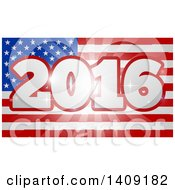 Clipart Of A 2016 Burst Over An American Flag And Fireworks Royalty Free Vector Illustration by AtStockIllustration